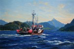 Homeward Bound with Black Cod, Oil on board, 16 x 24in.