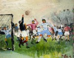 "Llewellyn Petley-Jones, ""The Football Game"", oil on canvas, 12x15.5in."