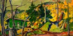 "Llewellyn Petley-Jones, ""Autumn Landscape, Horseshoe Bay"", oil on canvas, 8.25x16.5in."