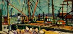 "Llewellyn Petley-Jones, ""Coal Harbour, Vancouver"", oil on canvas, 8.5x17in."
