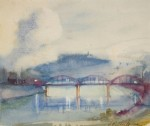 "Llewellyn Petley-Jones, ""East End Bridge"", watercolour, 8.5x9.75in."