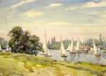 "Llewellyn Petley-Jones, ""Regatta on the Thames at Kingston"", watercolour, 10.5x15in."